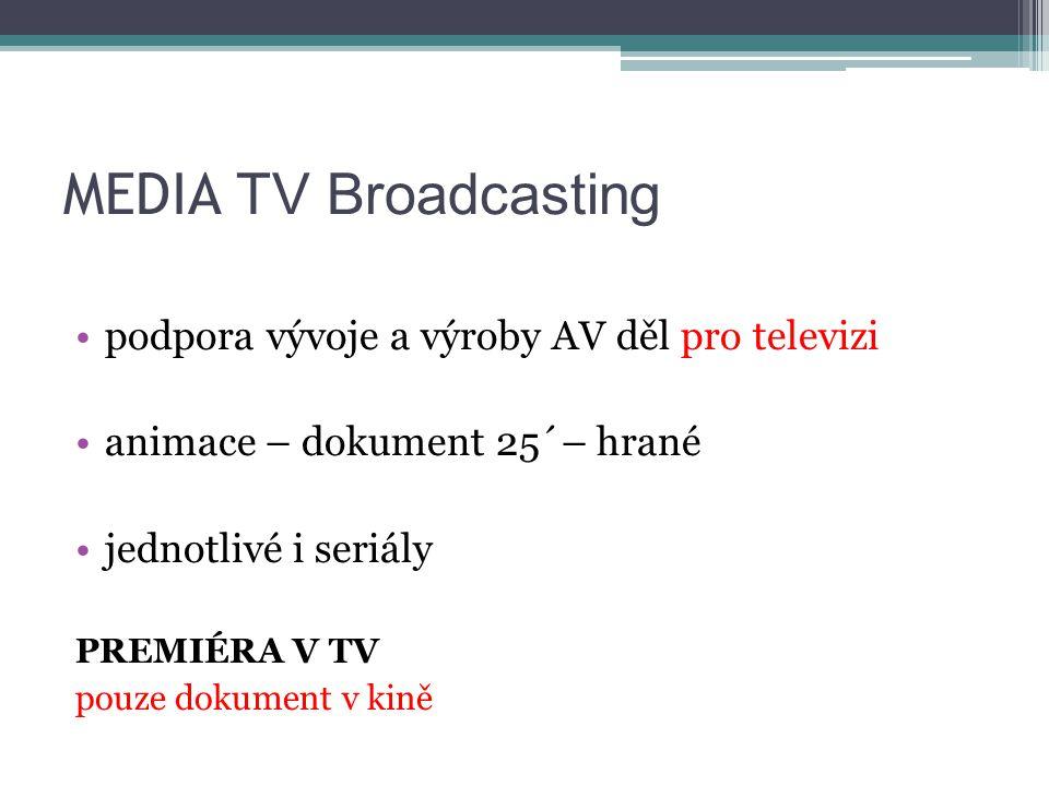 MEDIA TV Broadcasting podpora vývoje a výroby AV děl pro televizi animace – dokument 25´– hrané jednotlivé i seriály PREMIÉRA V TV pouze dokument v kině