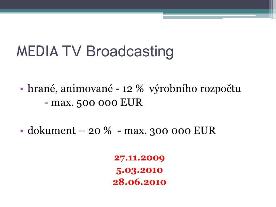 MEDIA TV Broadcasting hrané, animované - 12 % výrobního rozpočtu - max.