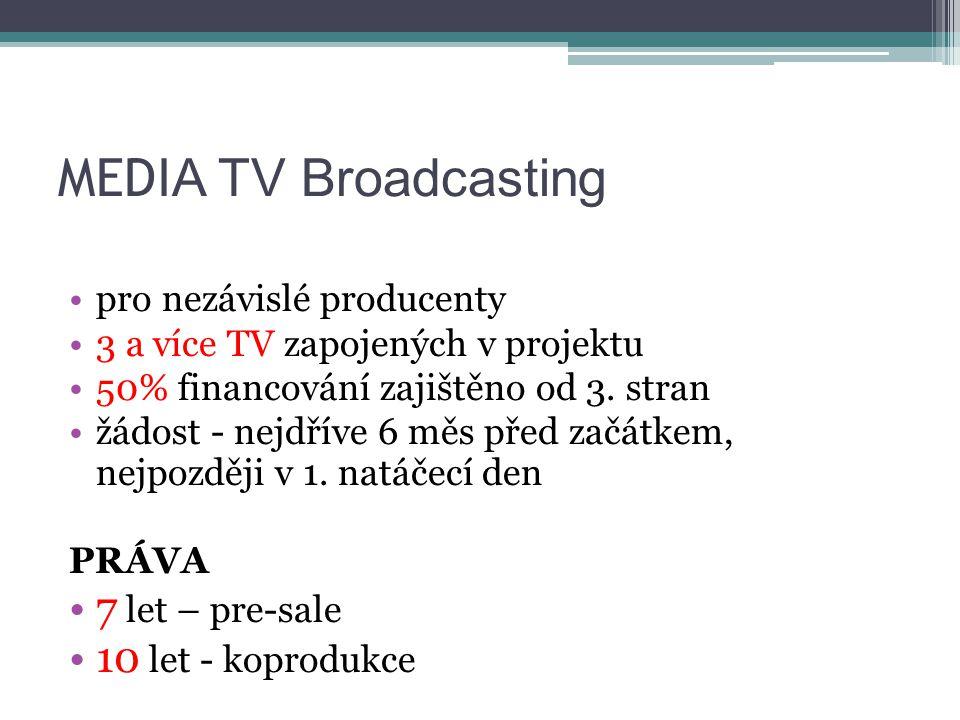 MEDI A TV Broadcasting pro nezávislé producenty 3 a více TV zapojených v projektu 50% financování zajištěno od 3.