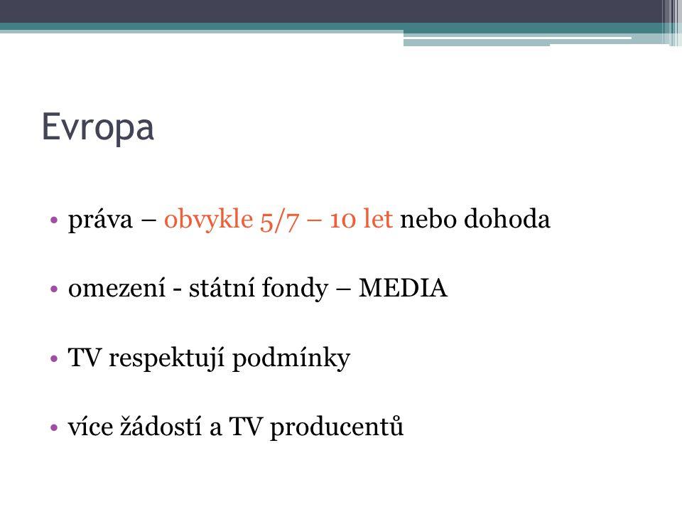 Evropa práva – obvykle 5/7 – 10 let nebo dohoda omezení - státní fondy – MEDIA TV respektují podmínky více žádostí a TV producentů