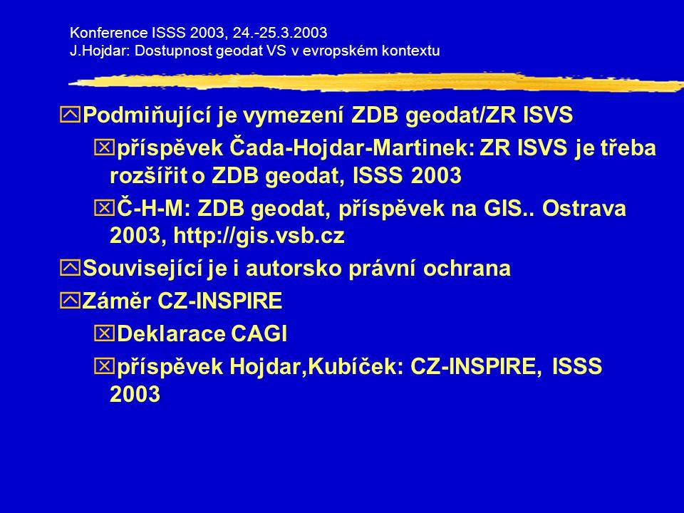 yPodmiňující je vymezení ZDB geodat/ZR ISVS xpříspěvek Čada-Hojdar-Martinek: ZR ISVS je třeba rozšířit o ZDB geodat, ISSS 2003 xČ-H-M: ZDB geodat, příspěvek na GIS..