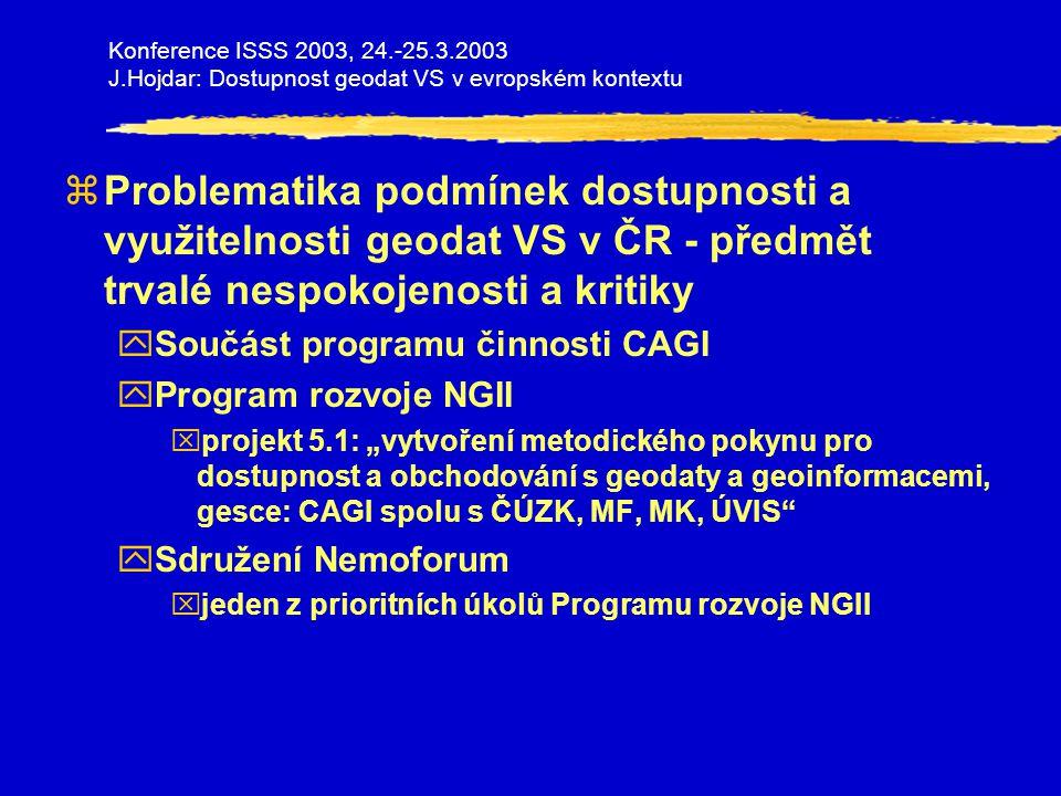Konference ISSS 2003, 24.-25.3.2003 J.Hojdar: Dostupnost geodat VS v evropském kontextu zINSPIRE - Infrastructure of Spatial Information in Europe yProjekt IS zpřístupňujícího geodata v Evropě xwww.ec-gis/inspire xpilotně zaměřeno na data o životním prostředí yArchitektura - Architecture and Standards PP Paper yZákladní datové báze a metadata - Reference Data and Metadata yZpůsob realizace a financování - Implementing Structures and Funding PP