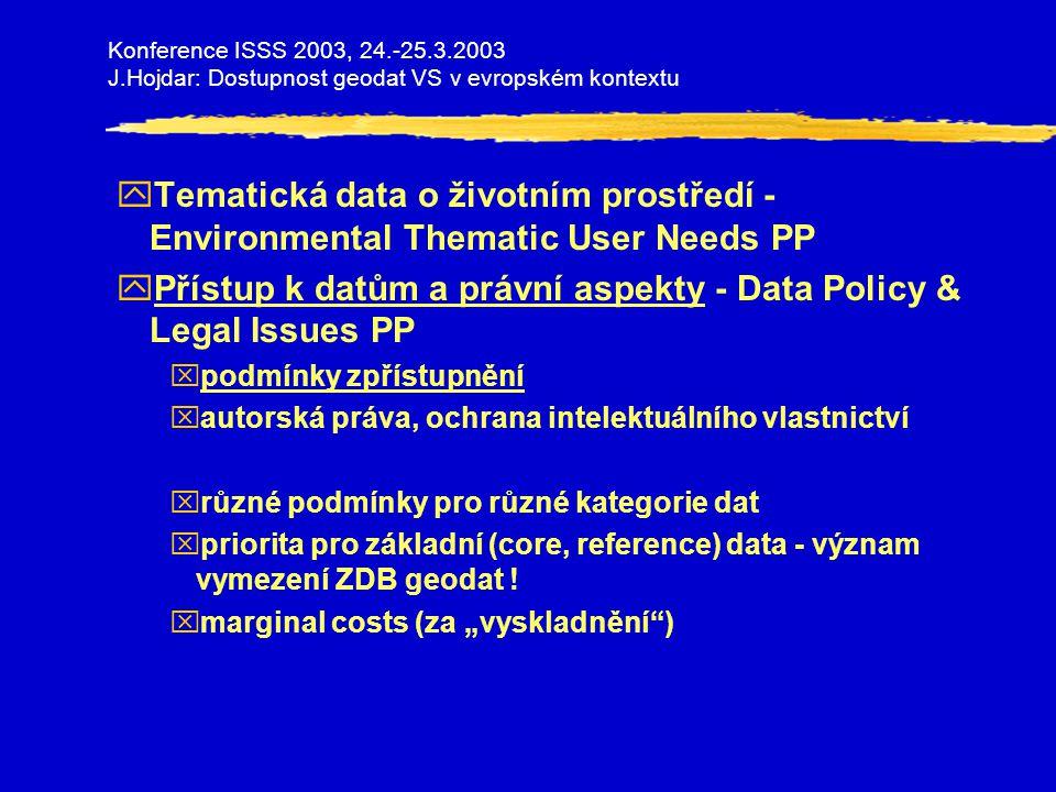 Konference ISSS 2003, 24.-25.3.2003 J.Hojdar: Dostupnost geodat VS v evropském kontextu yTematická data o životním prostředí - Environmental Thematic User Needs PP yPřístup k datům a právní aspekty - Data Policy & Legal Issues PP xpodmínky zpřístupnění xautorská práva, ochrana intelektuálního vlastnictví xrůzné podmínky pro různé kategorie dat xpriorita pro základní (core, reference) data - význam vymezení ZDB geodat .