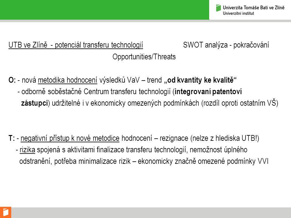 """UTB ve Zlíně - potenciál transferu technologií SWOT analýza - pokračování Opportunities/Threats O: - nová metodika hodnocení výsledků VaV – trend """"od kvantity ke kvalitě - odborně soběstačné Centrum transferu technologií ( integrovaní patentoví zástupci ) udržitelné i v ekonomicky omezených podmínkách (rozdíl oproti ostatním VŠ) T: - negativní přístup k nové metodice hodnocení – rezignace (nelze z hlediska UTB!) - rizika spojená s aktivitami finalizace transferu technologií, nemožnost úplného odstranění, potřeba minimalizace rizik – ekonomicky značně omezené podmínky VVI"""