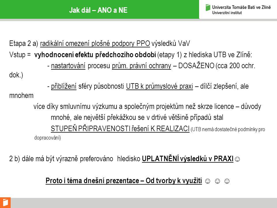 Jak dál – ANO a NE Etapa 2 a) radikální omezení plošné podpory PPO výsledků VaV Vstup = vyhodnocení efektu předchozího období (etapy 1) z hlediska UTB ve Zlíně: - nastartování procesu prům.