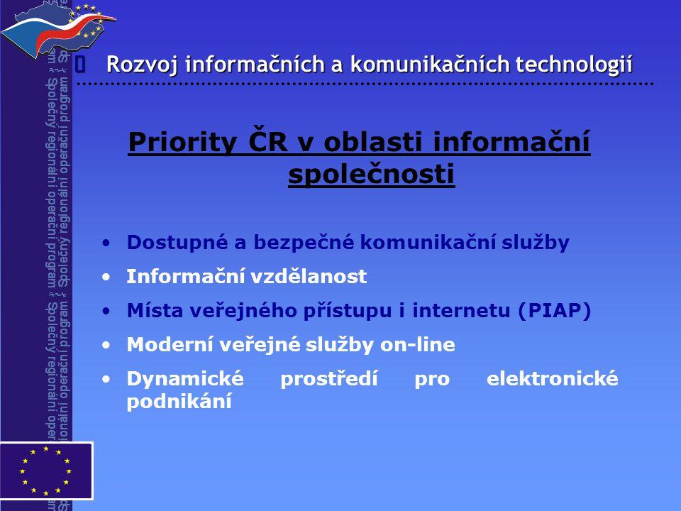 Rozvoj informačních a komunikačních technologií  Priority ČR v oblasti informační společnosti Dostupné a bezpečné komunikační služby Informační vzděl