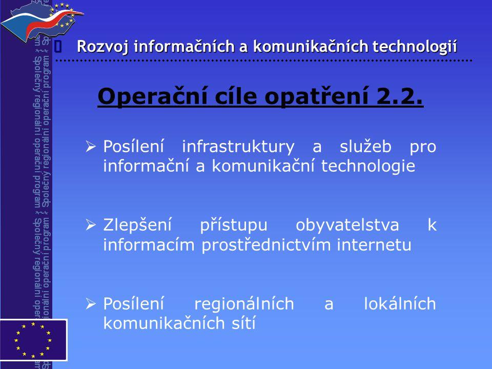 Rozvoj informačních a komunikačních technologií  Operační cíle opatření 2.2.   Posílení infrastruktury a služeb pro informační a komunikační techno