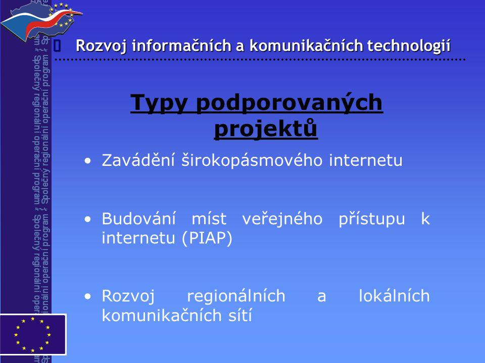 Rozvoj informačních a komunikačních technologií  Typy podporovaných projektů Zavádění širokopásmového internetu Budování míst veřejného přístupu k in