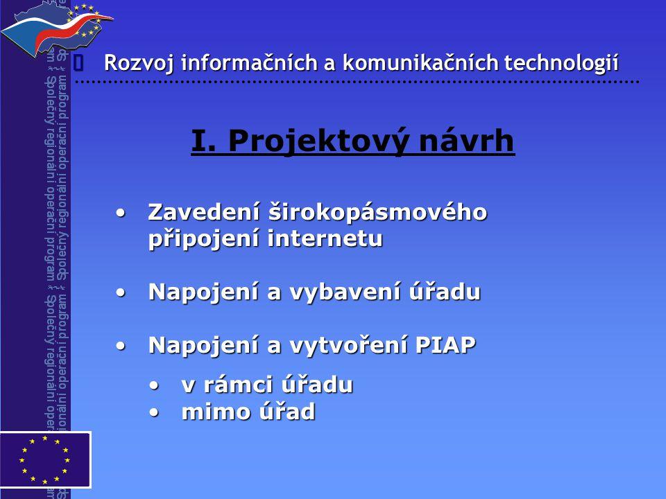 Rozvoj informačních a komunikačních technologií  I. Projektový návrh Zavedení širokopásmového připojení internetuZavedení širokopásmového připojení i