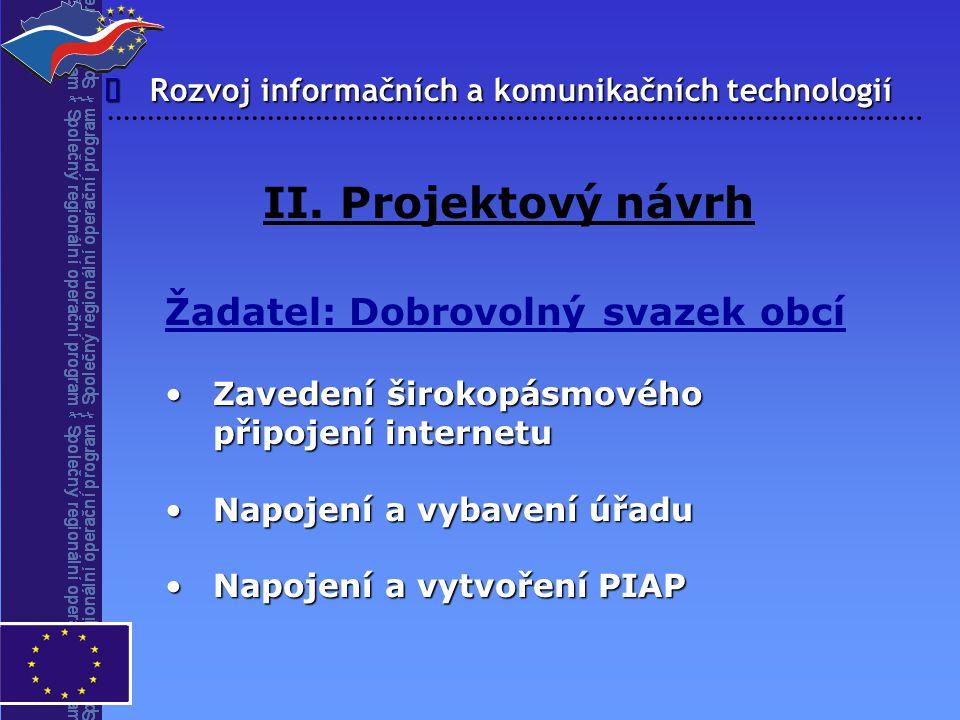 Rozvoj informačních a komunikačních technologií  II. Projektový návrh Žadatel: Dobrovolný svazek obcí Zavedení širokopásmového připojení internetuZav