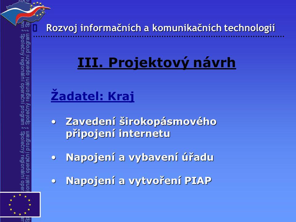 Rozvoj informačních a komunikačních technologií  III. Projektový návrh Žadatel: Kraj Zavedení širokopásmového připojení internetuZavedení širokopásmo
