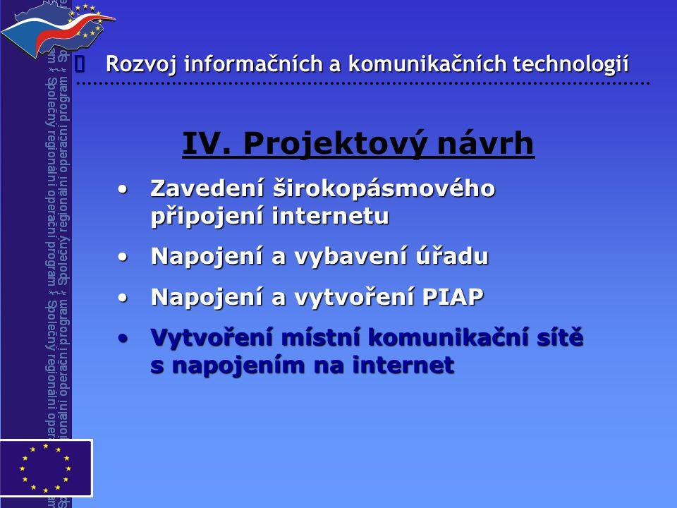 Rozvoj informačních a komunikačních technologií  IV. Projektový návrh Zavedení širokopásmového připojení internetuZavedení širokopásmového připojení
