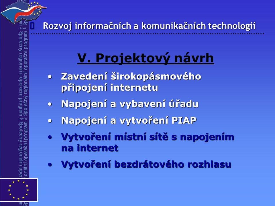  V. Projektový návrh Zavedení širokopásmového připojení internetuZavedení širokopásmového připojení internetu Napojení a vybavení úřaduNapojení a vyb