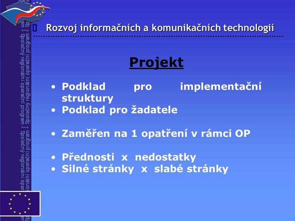 Rozvoj informačních a komunikačních technologií  Projekt Podklad pro implementační struktury Podklad pro žadatele Zaměřen na 1 opatření v rámci OP Př