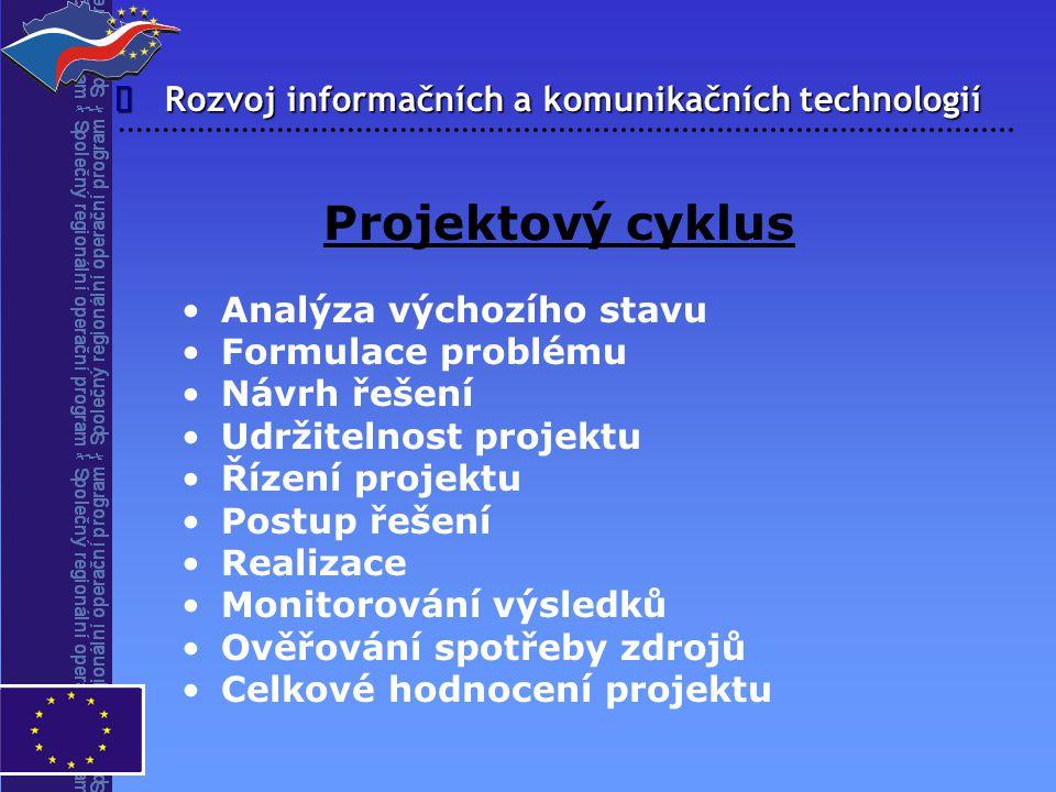 Rozvoj informačních a komunikačních technologií  Projektový cyklus Analýza výchozího stavu Formulace problému Návrh řešení Udržitelnost projektu Říze
