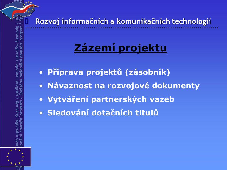 Rozvoj informačních a komunikačních technologií  Zázemí projektu Příprava projektů (zásobník) Návaznost na rozvojové dokumenty Vytváření partnerských