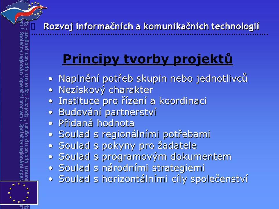 Rozvoj informačních a komunikačních technologií  Principy tvorby projektů Naplnění potřeb skupin nebo jednotlivcůNaplnění potřeb skupin nebo jednotli