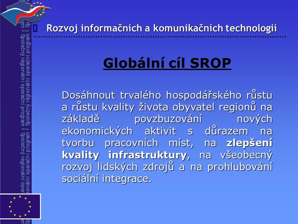 Rozvoj informačních a komunikačních technologií  Globální cíl SROP Dosáhnout trvalého hospodářského růstu a růstu kvality života obyvatel regionů na