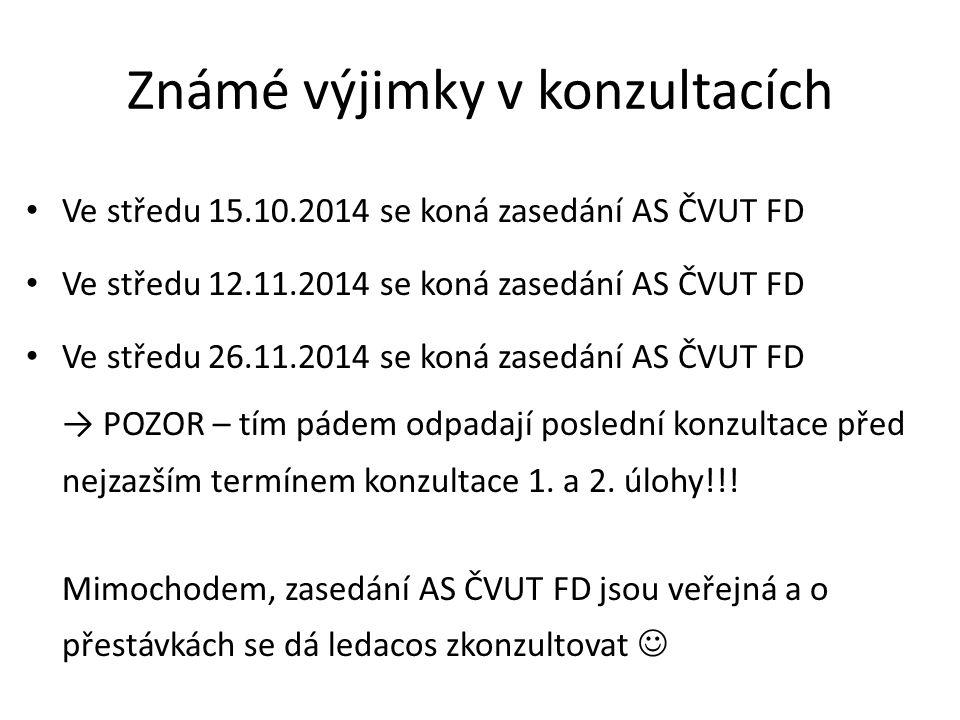 Známé výjimky v konzultacích Ve středu 15.10.2014 se koná zasedání AS ČVUT FD Ve středu 12.11.2014 se koná zasedání AS ČVUT FD Ve středu 26.11.2014 se koná zasedání AS ČVUT FD → POZOR – tím pádem odpadají poslední konzultace před nejzazším termínem konzultace 1.