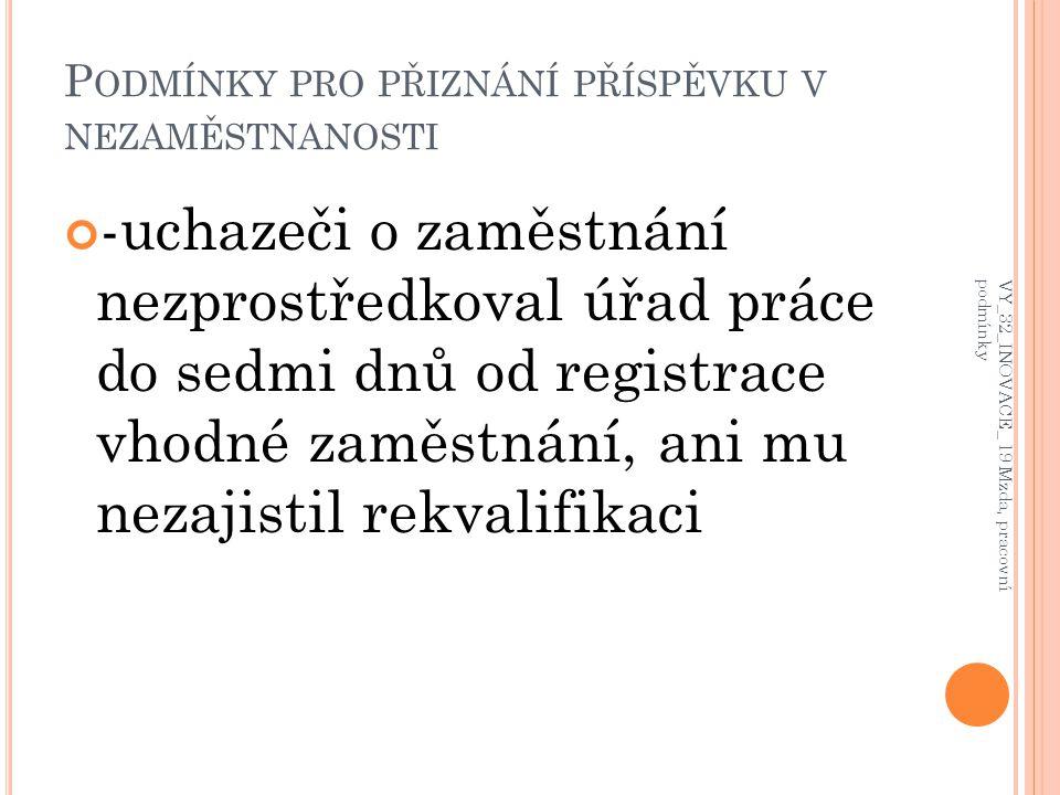 - uchazeč byl v posledních třech letech alespoň 12 měsíců zaměstnán VY_32_INOVACE_ 19 Mzda, pracovní podmínky