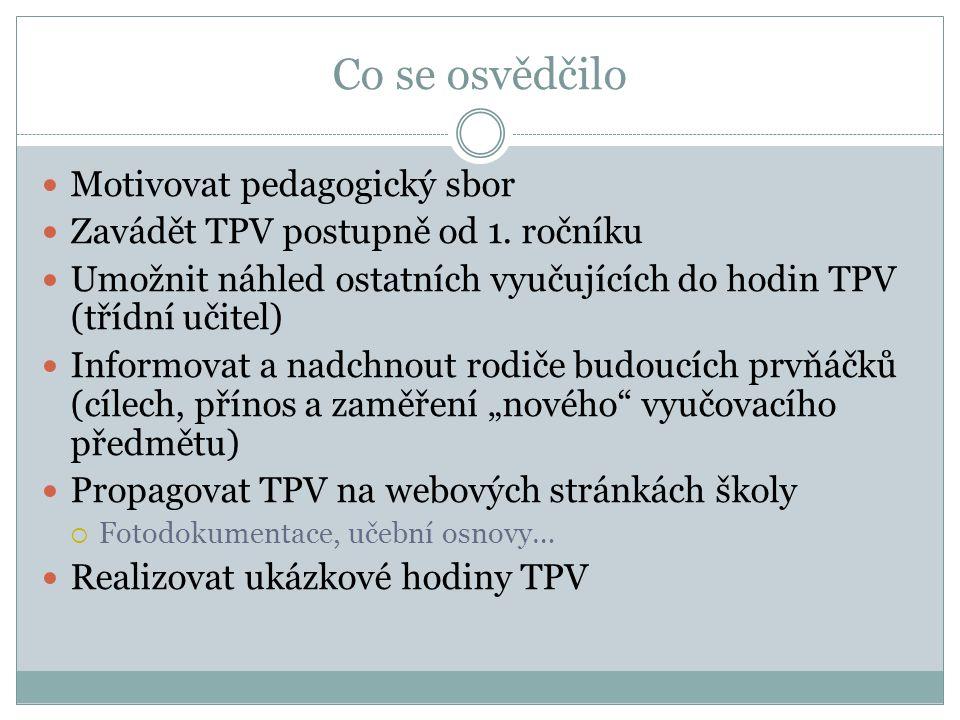 Co se osvědčilo Motivovat pedagogický sbor Zavádět TPV postupně od 1.