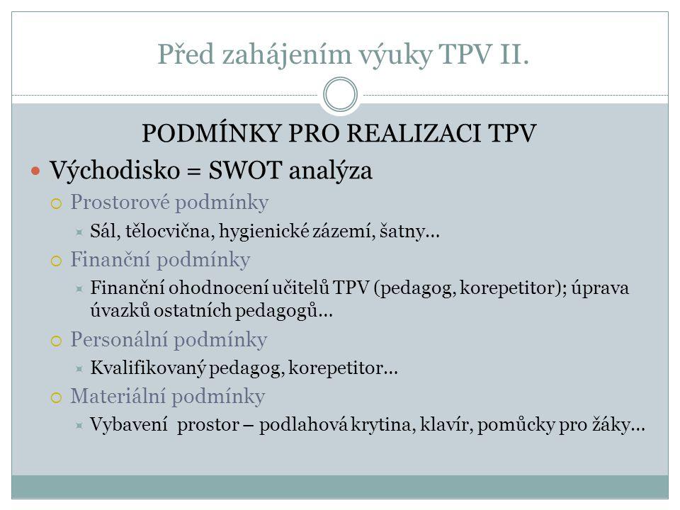 Před zahájením výuky TPV II. PODMÍNKY PRO REALIZACI TPV Východisko = SWOT analýza  Prostorové podmínky  Sál, tělocvična, hygienické zázemí, šatny… 