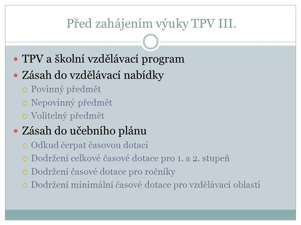 Před zahájením výuky TPV III. TPV a školní vzdělávací program Zásah do vzdělávací nabídky  Povinný předmět  Nepovinný předmět  Volitelný předmět Zá