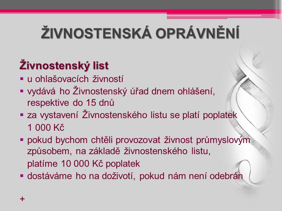 ŽIVNOSTENSKÁ OPRÁVNĚNÍ Živnostenský list  u ohlašovacích živností  vydává ho Živnostenský úřad dnem ohlášení, respektive do 15 dnů  za vystavení Ži