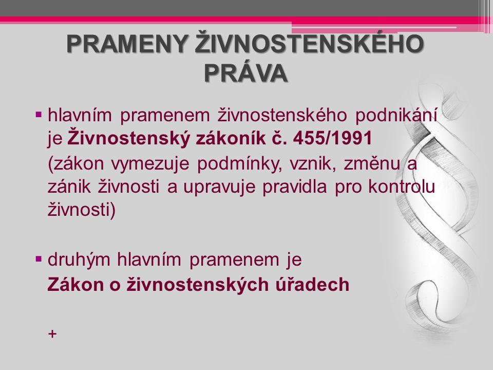 PRAMENY ŽIVNOSTENSKÉHO PRÁVA  hlavním pramenem živnostenského podnikání je Živnostenský zákoník č. 455/1991 (zákon vymezuje podmínky, vznik, změnu a