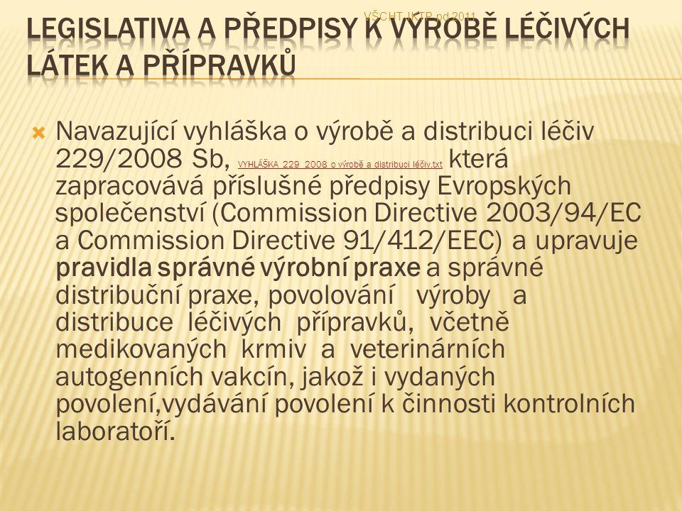  Navazující vyhláška o výrobě a distribuci léčiv 229/2008 Sb, VYHLÁŠKA 229_2008 o výrobě a distribuci léčiv.txt která zapracovává příslušné předpisy