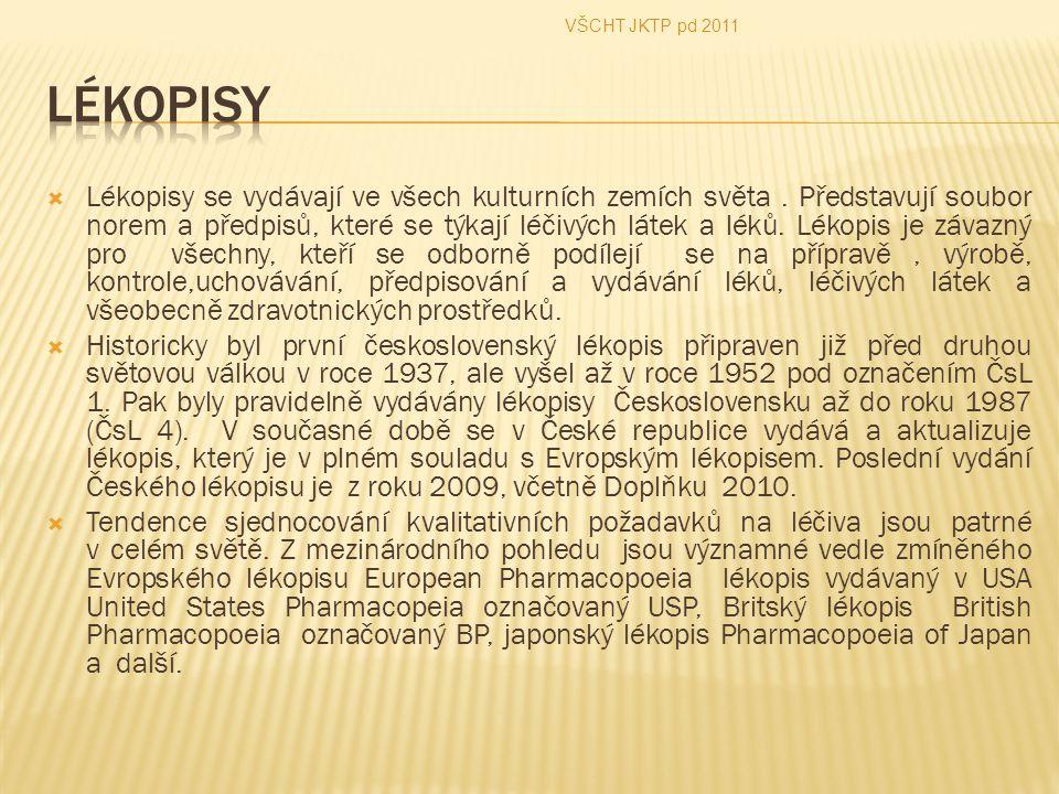 Lékopisy se vydávají ve všech kulturních zemích světa. Představují soubor norem a předpisů, které se týkají léčivých látek a léků. Lékopis je závazn