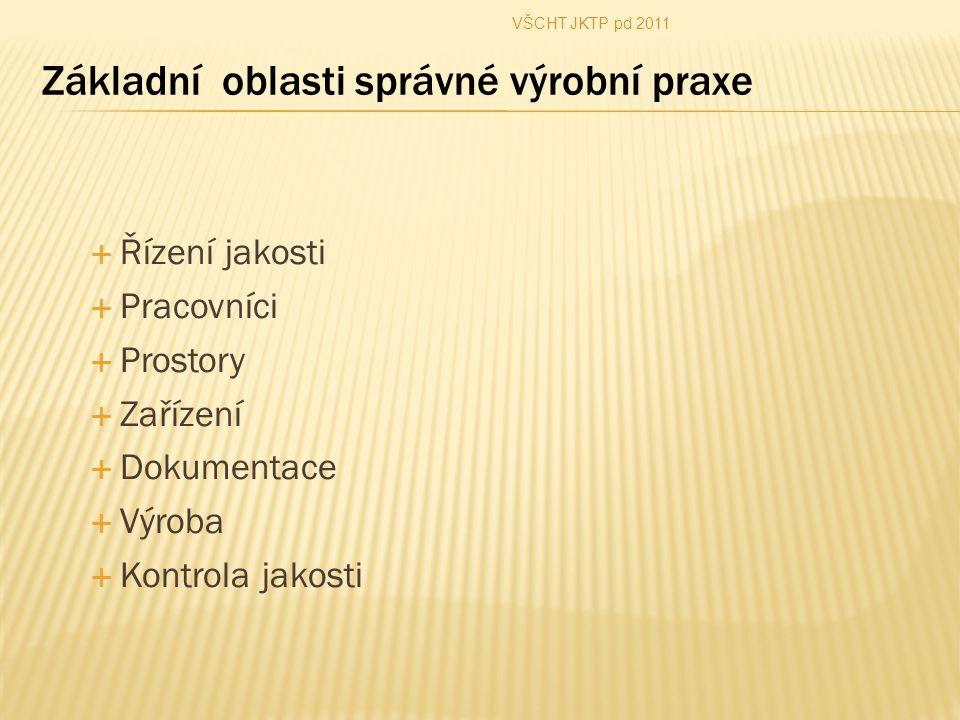  Řízení jakosti  Pracovníci  Prostory  Zařízení  Dokumentace  Výroba  Kontrola jakosti VŠCHT JKTP pd 2011