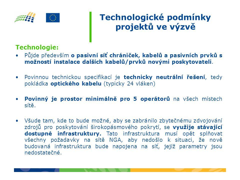 Technologické podmínky projektů ve výzvě Technologie: Půjde především o pasivní síť chrániček, kabelů a pasivních prvků s možností instalace dalších kabelů/prvků novými poskytovateli.