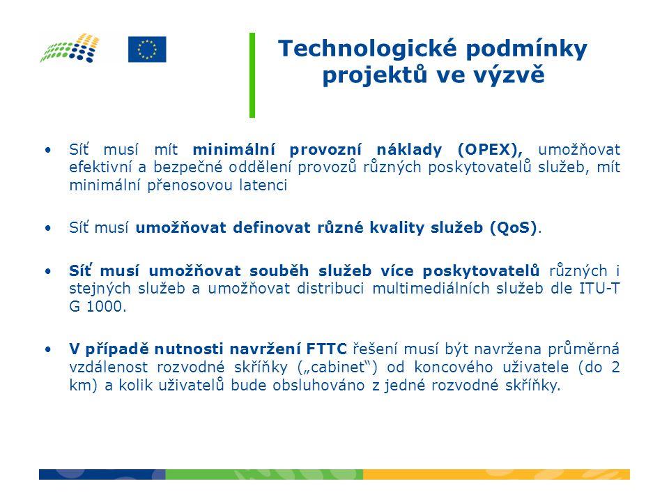 Technologické podmínky projektů ve výzvě Síť musí mít minimální provozní náklady (OPEX), umožňovat efektivní a bezpečné oddělení provozů různých poskytovatelů služeb, mít minimální přenosovou latenci Síť musí umožňovat definovat různé kvality služeb (QoS).
