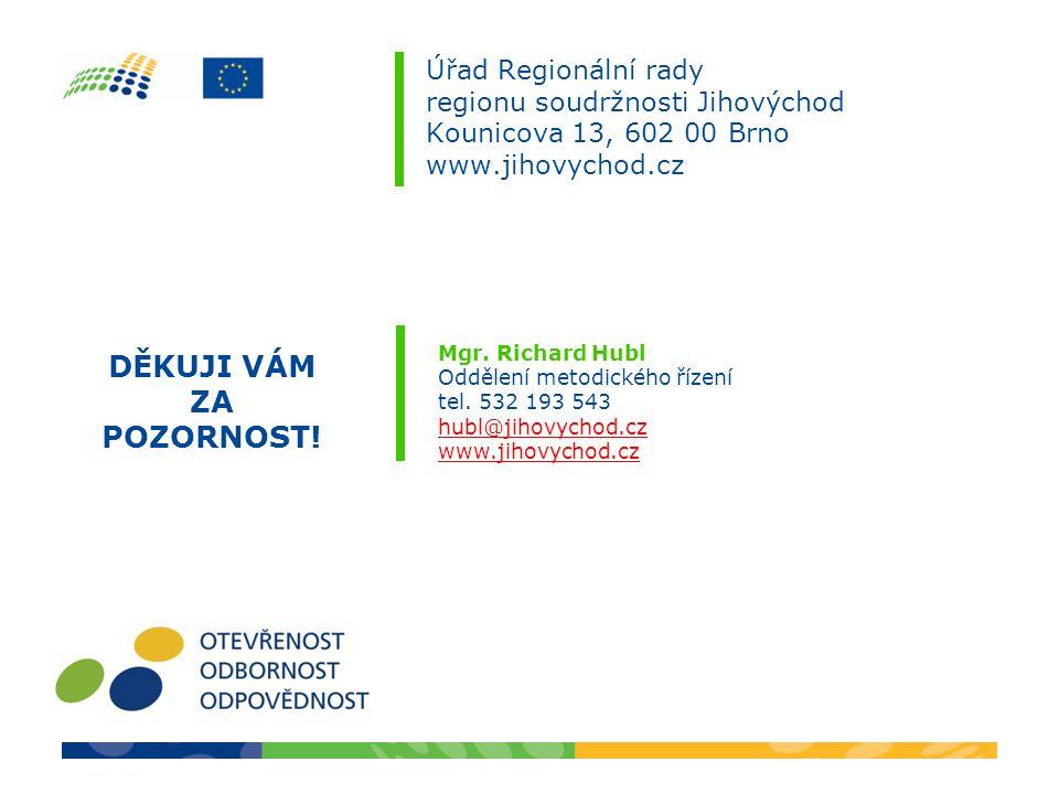 Úřad Regionální rady regionu soudržnosti Jihovýchod Kounicova 13, 602 00 Brno www.jihovychod.cz Mgr.