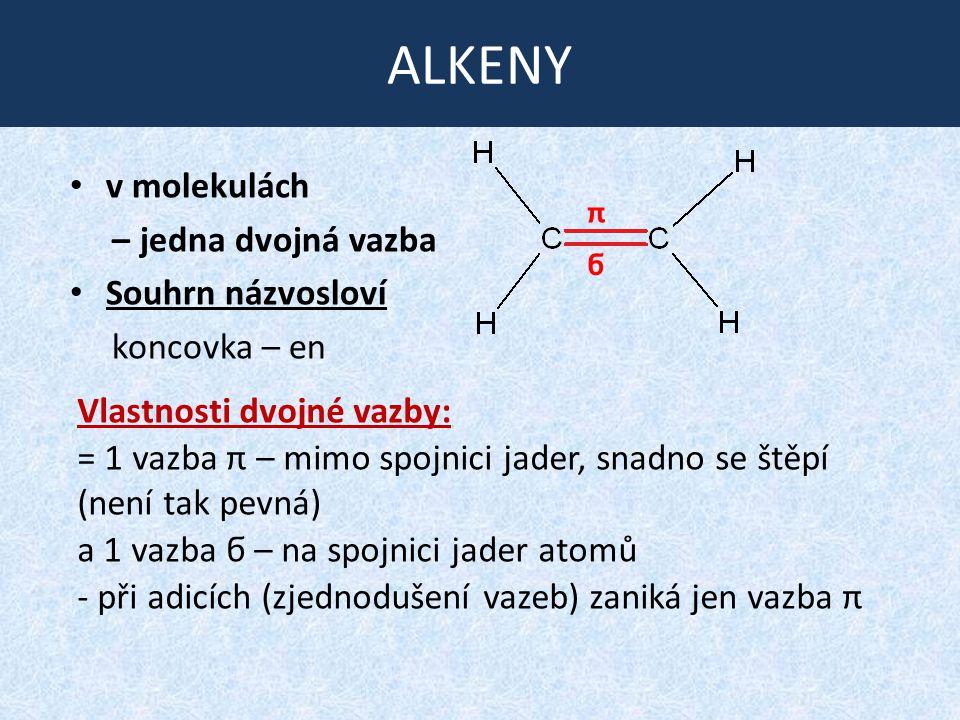 ALKENY v molekulách – jedna dvojná vazba Souhrn názvosloví koncovka – en π ϭ Vlastnosti dvojné vazby: = 1 vazba π – mimo spojnici jader, snadno se ště