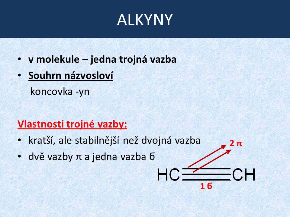 ALKYNY v molekule – jedna trojná vazba Souhrn názvosloví koncovka -yn Vlastnosti trojné vazby: kratší, ale stabilnější než dvojná vazba dvě vazby π a
