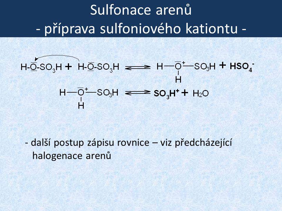 Sulfonace arenů - příprava sulfoniového kationtu - - další postup zápisu rovnice – viz předcházející halogenace arenů