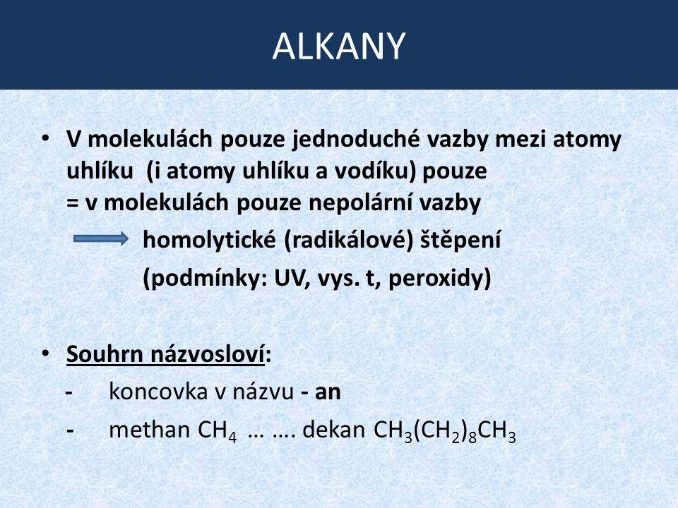ALKANY V molekulách pouze jednoduché vazby mezi atomy uhlíku (i atomy uhlíku a vodíku) pouze = v molekulách pouze nepolární vazby homolytické (radikál