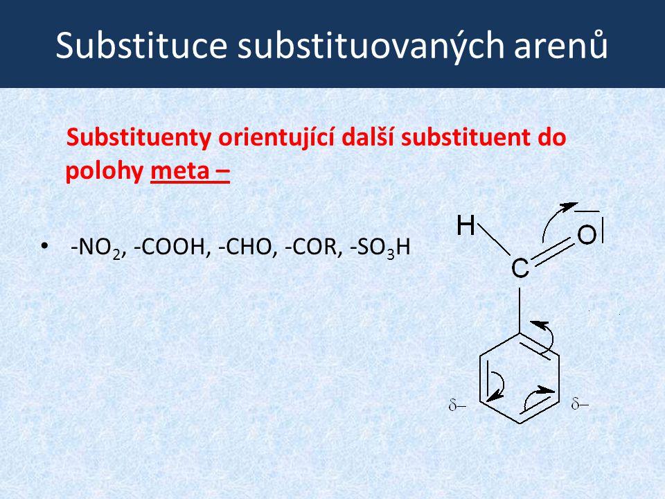 Substituce substituovaných arenů Substituenty orientující další substituent do polohy meta – -NO 2, -COOH, -CHO, -COR, -SO 3 H