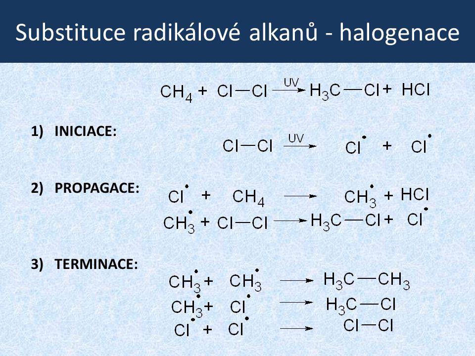 Substituce radikálové alkanů - halogenace 1)INICIACE: 2) PROPAGACE: 3) TERMINACE: