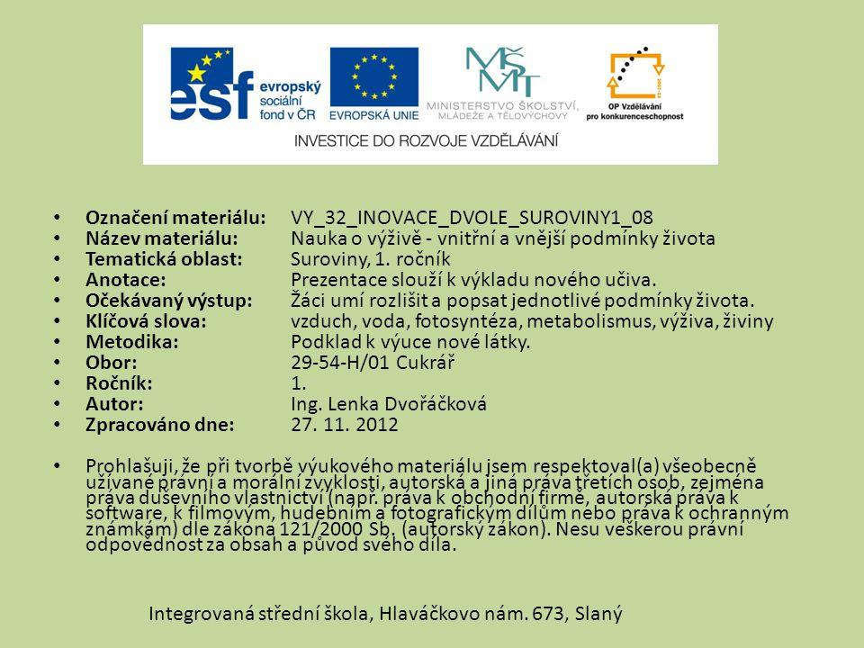 Označení materiálu: VY_32_INOVACE_DVOLE_SUROVINY1_08 Název materiálu:Nauka o výživě - vnitřní a vnější podmínky života Tematická oblast:Suroviny, 1. r