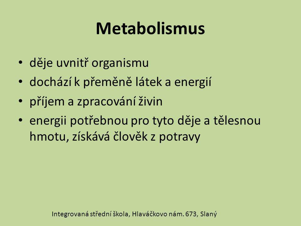 Metabolismus děje uvnitř organismu dochází k přeměně látek a energií příjem a zpracování živin energii potřebnou pro tyto děje a tělesnou hmotu, získá