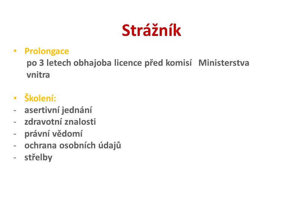 Strážník Prolongace po 3 letech obhajoba licence před komisí Ministerstva vnitra Školení: -asertivní jednání -zdravotní znalosti -právní vědomí -ochra