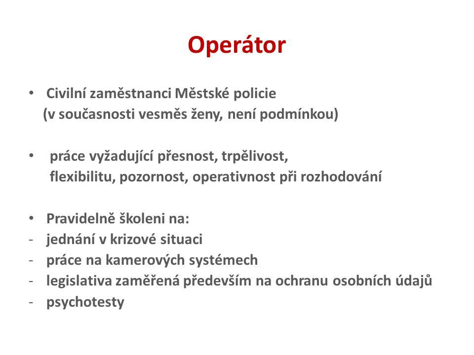 Operátor Civilní zaměstnanci Městské policie (v současnosti vesměs ženy, není podmínkou) práce vyžadující přesnost, trpělivost, flexibilitu, pozornost