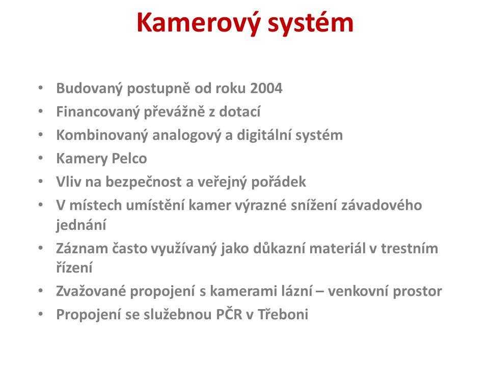 Kamerový systém Budovaný postupně od roku 2004 Financovaný převážně z dotací Kombinovaný analogový a digitální systém Kamery Pelco Vliv na bezpečnost