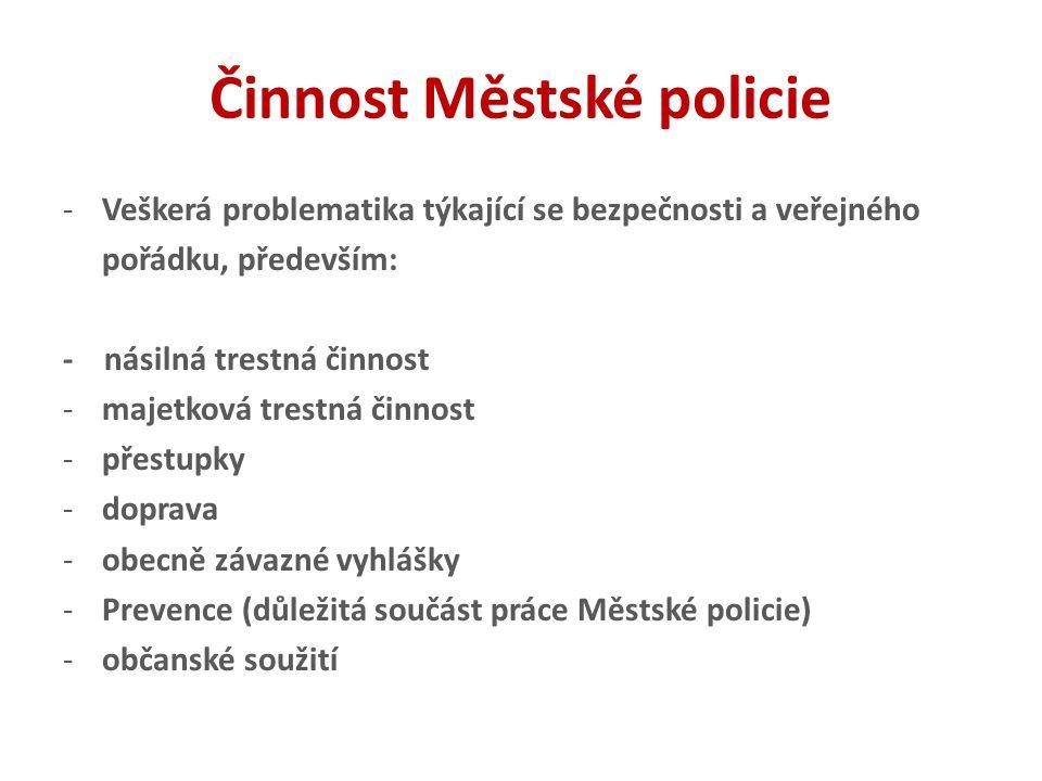 Činnost Městské policie -Veškerá problematika týkající se bezpečnosti a veřejného pořádku, především: - násilná trestná činnost -majetková trestná čin