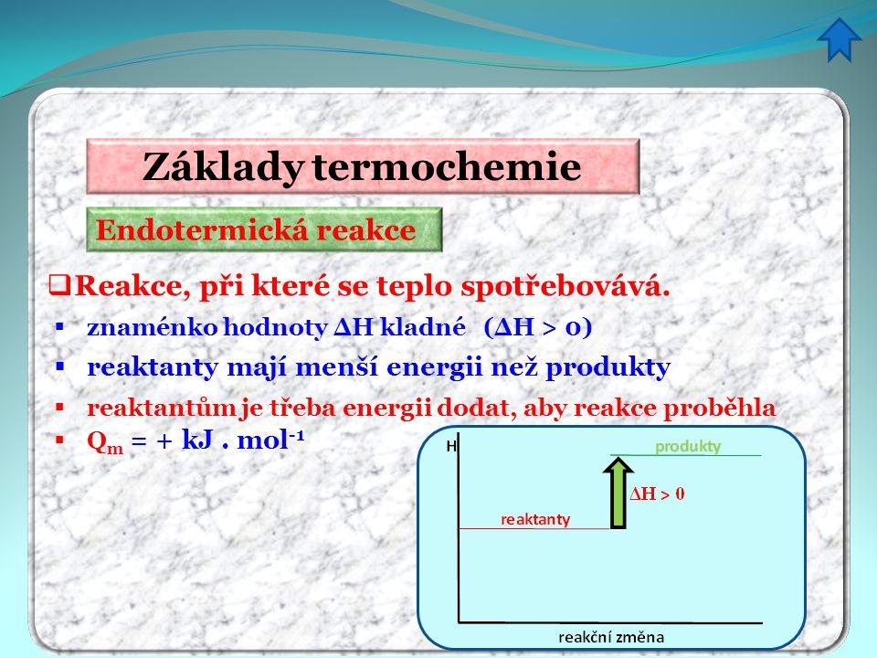 Endotermická reakce Základy termochemie  Reakce, při které se teplo spotřebovává.  znaménko hodnoty ΔH kladné (ΔH > 0)  reaktanty mají menší energi
