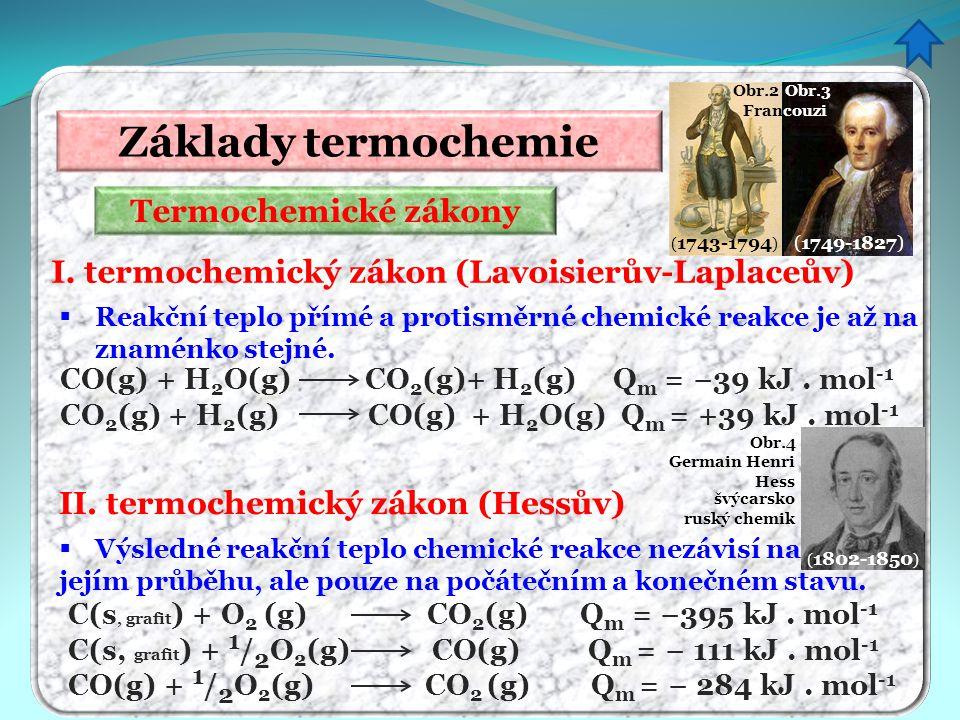 Termochemické zákony Základy termochemie I. termochemický zákon (Lavoisierův-Laplaceův)  Reakční teplo přímé a protisměrné chemické reakce je až na z