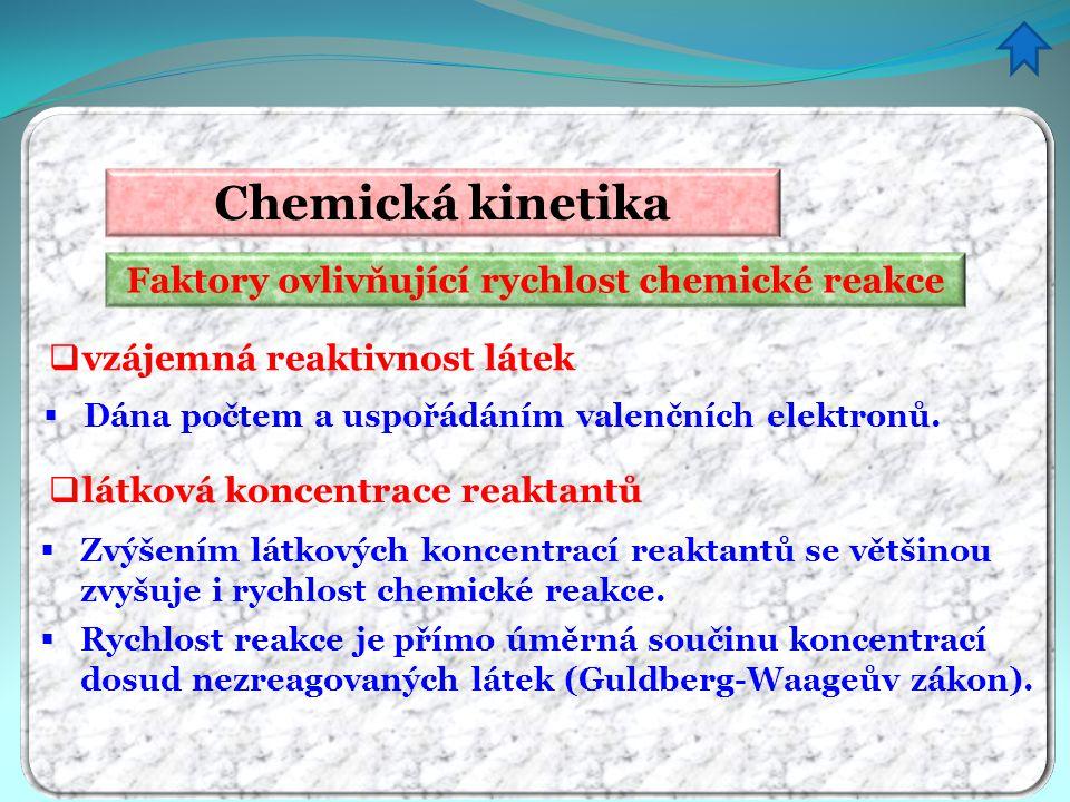 Faktory ovlivňující rychlost chemické reakce Chemická kinetika  vzájemná reaktivnost látek  Dána počtem a uspořádáním valenčních elektronů.  Rychlo